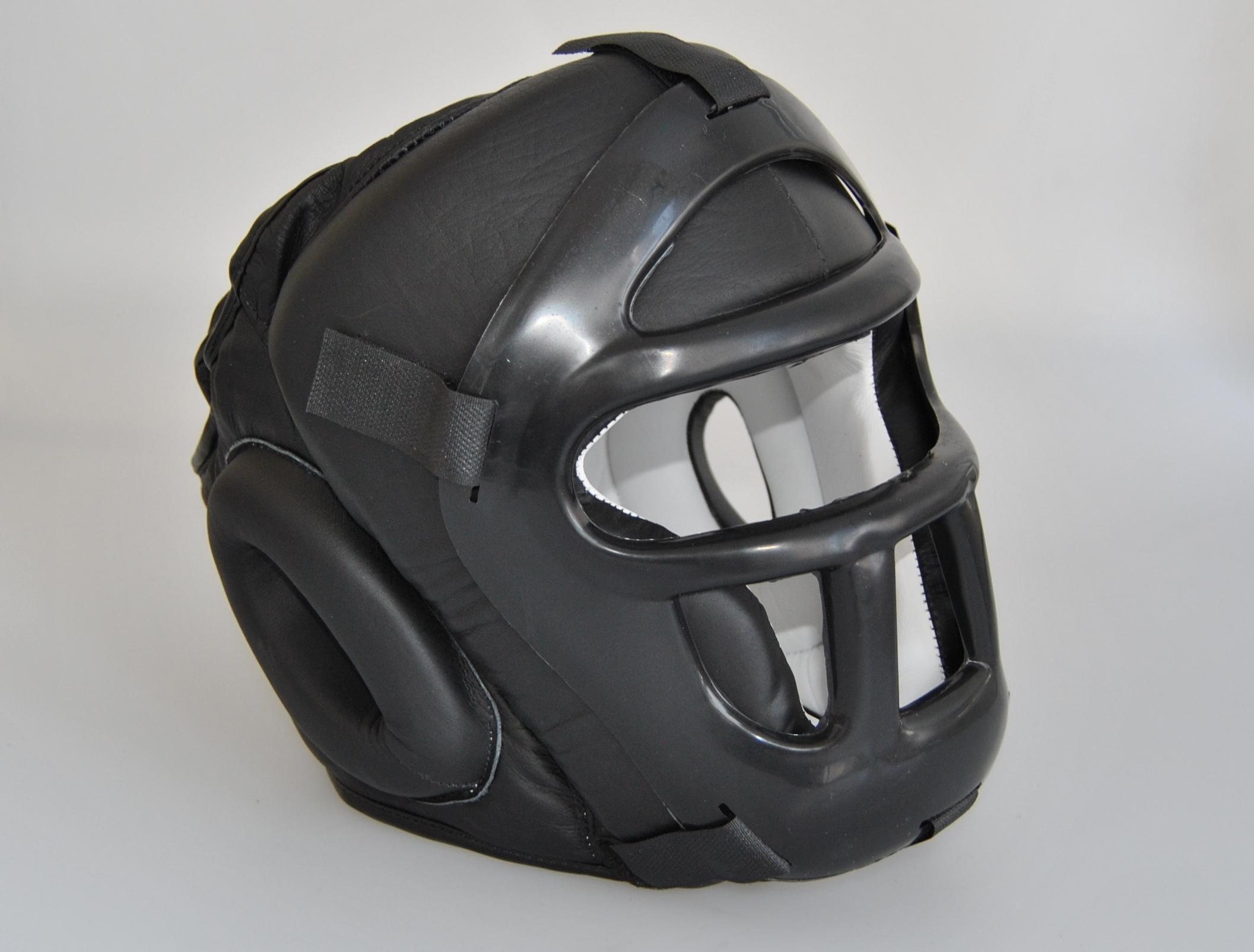 Kopfschützer mit Gitter Leder schwarz